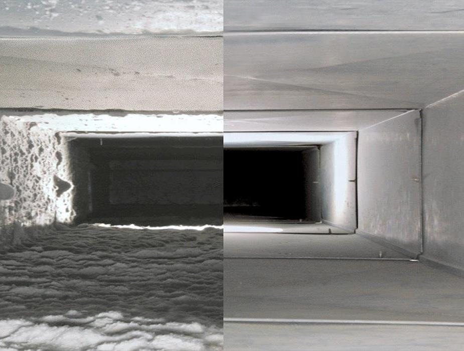 Split image of a dirty air duct and a cleaned duct